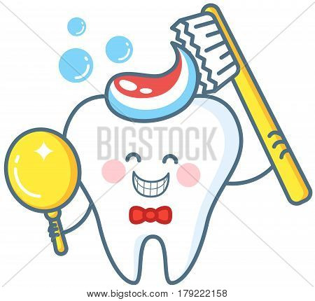 Cartoon tooth with toothpaste and mirror. Healthy teeth icon. Dental care concept and hygiene.
