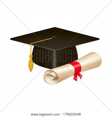 Realistic graduation cap and diploma scroll isolated on white background. Academic hat with tassel and university degree certificate. Vector illustration for announcement, banner, poster, flyer, ad.