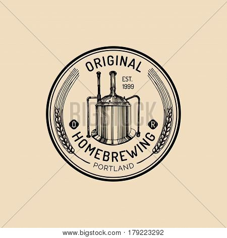 Brew kettle logo. Kraft beer mug logo. Lager cup retro sign. Hand sketched ale illustration. Vector vintage homebrewing label or badge.