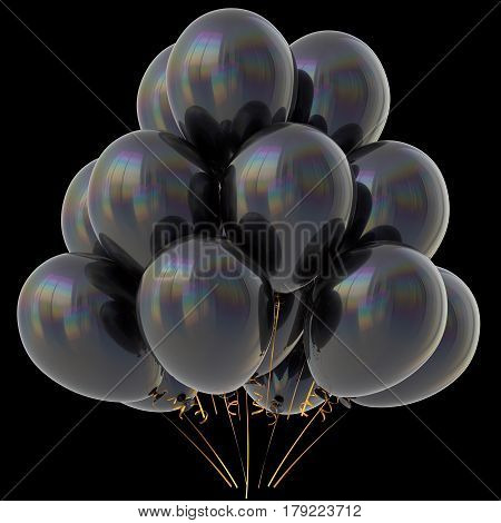 Black balloons happy birthday party decoration dark glossy. 3D illustration isolated on black
