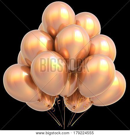 Golden balloons happy birthday party decoration yellow gold glossy.  3D illustration isolated on black
