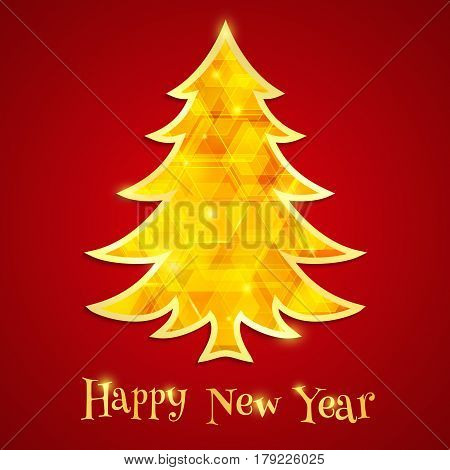 Golden and glowing Christmas tree isolated on the red background. Design elements for holiday cards. Vector illustration