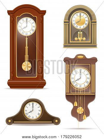 clock old retro set icon stock vector illustration isolated on gray background