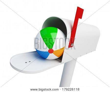 mail box with Beach ball on a white background 3D illustration