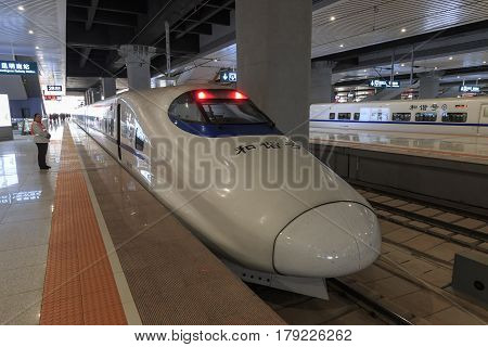 Kunming, China - March 29, 2017: Close Up Of A Chinese Fast Train Inside The Newly Opened High Speed