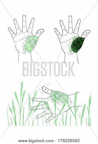 Hand Drawn Sketch of Human Hand Gesture in The Air Forming and Painting A Turtle with The Seaweed Background.