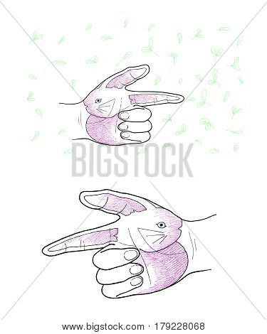 Hand Drawn Sketch of Human Hand Gesture in The Air Forming and Painting A Rabbit with The Green Grass Background.
