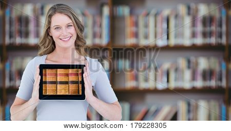 Digital composite of Woman with tablet showing book spines against blurry bookshelf