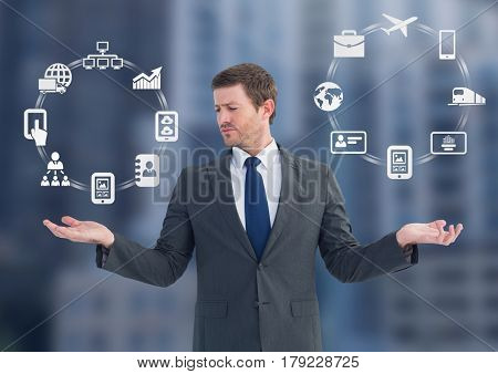 Digital composite of Man choosing or deciding business icons wheels with open palm hands