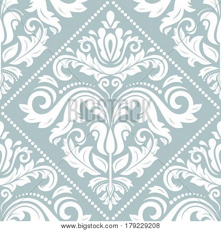 Damask vector classic white pattern. Seamless abstract background with repeating elements. Orient background