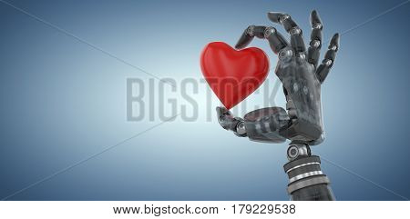 3d image of cyborg with heard shape decoration against purple vignette 3d