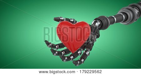 Three dimensional image of robot hand holding red heard shape against green vignette 3d