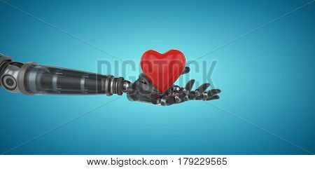 Three dimensional image of cyborg holding red heart shape decor against blue vignette background 3d