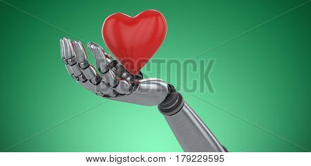 Three dimensional image of robot showing red heard shape decoration against green vignette 3d