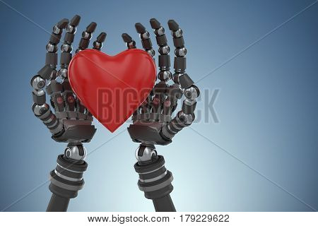 Three dimensional image of robot hand holding red heard shape against purple vignette 3d