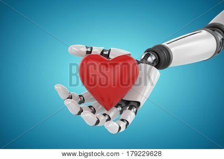 3d image of cyborg holding red heart shape decor against blue vignette background 3d