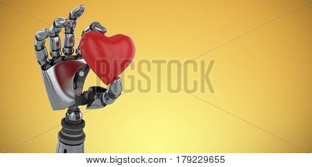 Three dimensional image of robot showing red heard shape decoration against yellow vignette 3d