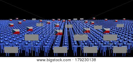 Crowd of people with signs and Czech flags 3d illustration