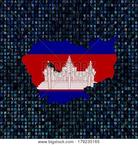 Cambodia map flag on hex code 3d illustration