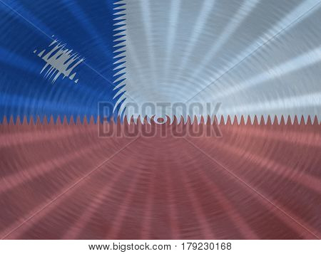 Chile flag background with ripples and rays illustration