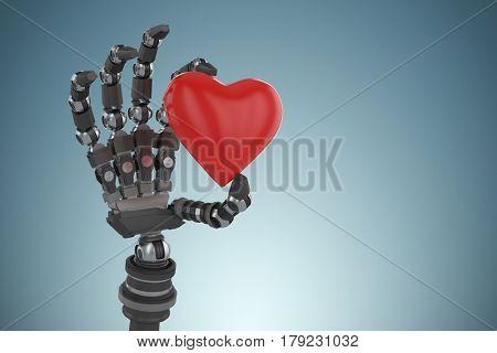 3d image of robot hand holding heard shape decoration against grey vignette