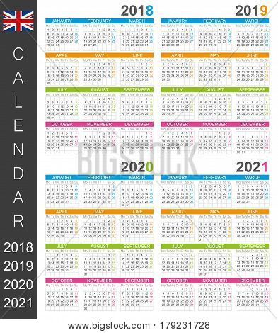 English calendar for years 2018, 2019, 2020, 2021, colorful calendar template, vector illustration