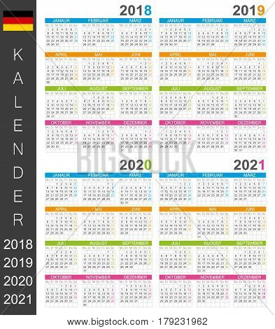 German calendar for years 2018, 2019, 2020, 2021, colorful calendar template, vector illustration