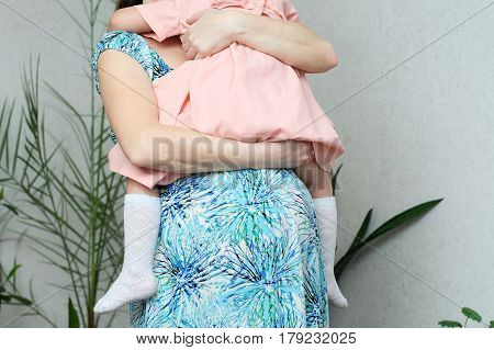 Pregnant mother with daughter pregnancy belly of woman with child. Happy motherhood. Expecting baby birth in third trimester being mother. Prenatal period pregnancy health prepared for child birth