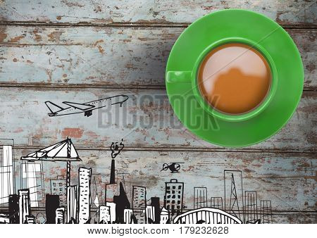 Digital composite of 3D Cup with travel plane city drawings on wood
