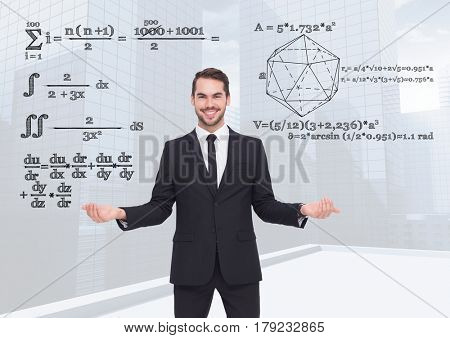 Digital composite of Man choosing or deciding math equations with open palm hands