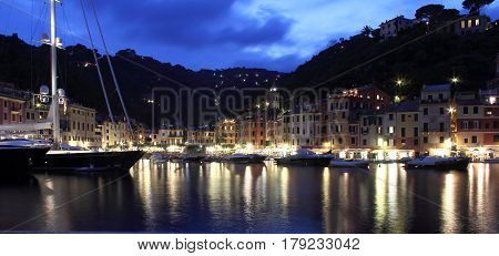 Portofino Italy: the village of Portofino just after sunset when even the last boats have returned for the evening.