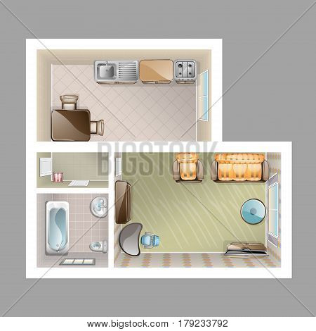 Detailed plan with lounge kitchen bathroom two bedrooms furniture vector illustration
