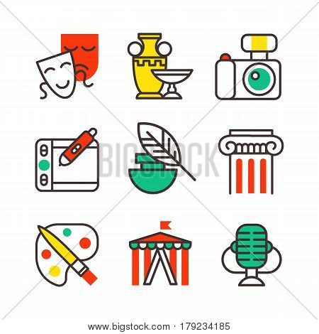 Set of art icons in flat design camera picture brush palette entertainment symbols and artist ink graphic color creativity movie collection vector illustration. Theater artistic painter picture eign.