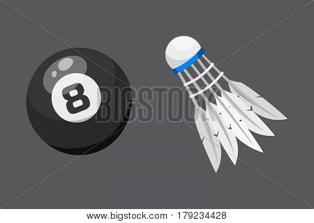 Sport balls isolated tournament win round billiards equipment and recreation badminton group traditional different design vector illustration. American many hobbies activity symbol.