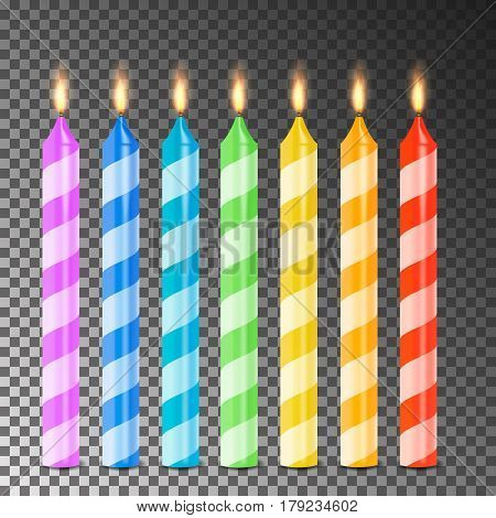 Burning 3D Realistic Dinner Candles Vector. Birthday Cake Candles. Burning Flames