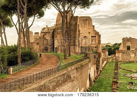ROME, ITALY - OCTOBER 1, 2012: The ruins of the stadium of Domitian on the Palatine Hill.