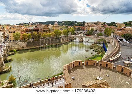 ROME, ITALY - OCTOBER 2, 2012: Rome cityscape with Tiber River in summer sunny day. View from Castel Sant'Angelo.