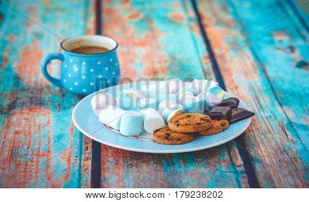 Different Marshmallow Cookies And Chocolate