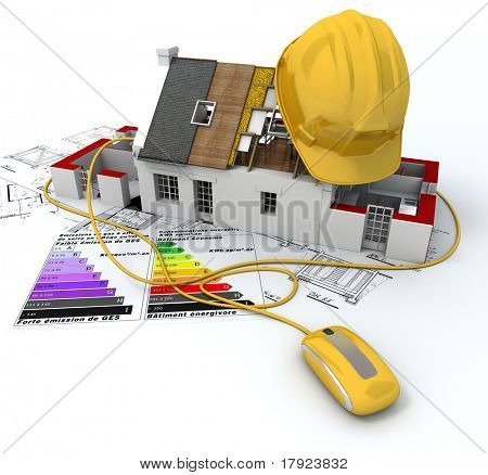 3D rendering of a house in construction, connected to a computer mouse, on top of blueprints, with and energy efficiency rating chart and a safety helmet
