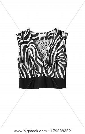 Black and white satin sleeveless top on white background