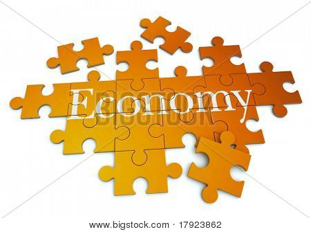 3D rendering of a forming puzzle with the French word Economie