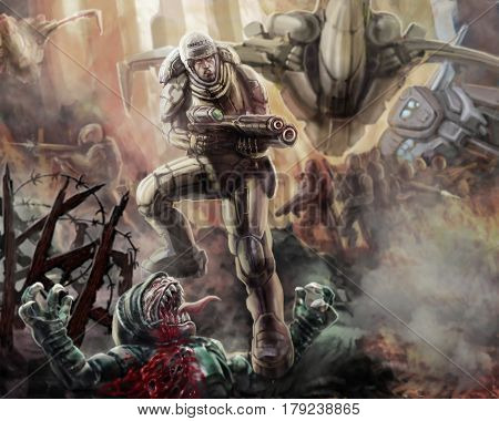 Soldier in an armor-suit with a large rifle fighting. Science fiction illustration. Original Character the Soldier of the Future. Freehand Digital Drawing. poster