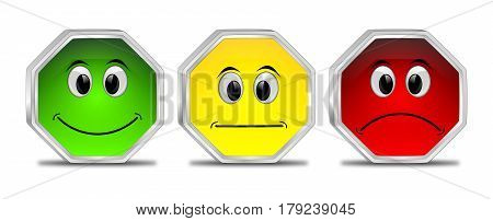 three colorful Voting Buttons - 3D illustration