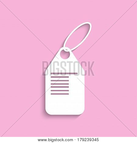 Commodity price tag. Vector icon. White image on a pink background with a shadow.