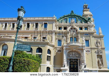MONACO - AUTUMN 2016: Opera Salle Garnier in Monte-Carlo in Monaco during early autumn