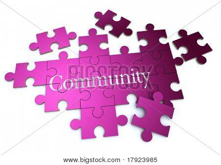 Representación 3D de un rompecabezas que forma con la palabra comunidad