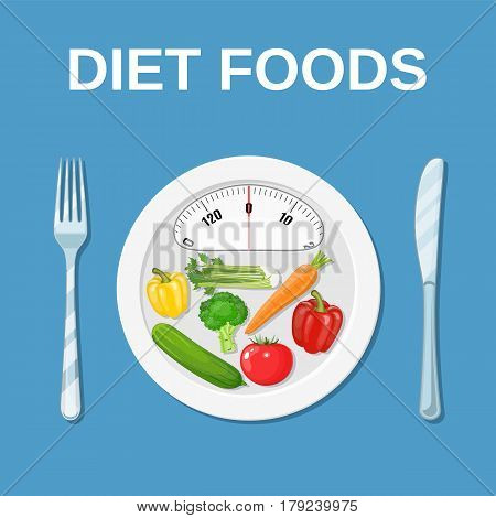 Diet meal concep. Plate with weight scale with tomatoes, peppers, cucumbers and fork, knife. Weight loss. Vector illustration in flat style