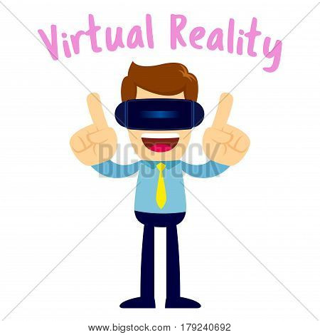 Vector stock of a businessman wearing virtual reality glasses