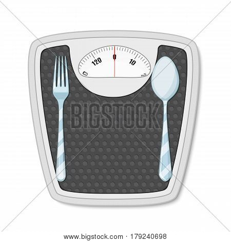 Bathroom scales with fork and spoon. concept of diet and overweight.