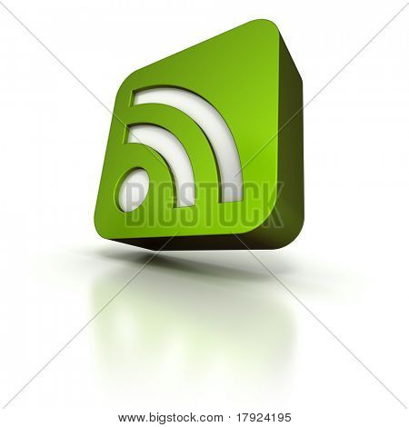 3D rendering of an green icon with the RSS symbol